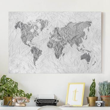 Stampa su tela - Paper World Map White Gray - Orizzontale 3:2