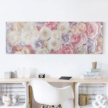 Stampa su tela - Pastel Paper Art Roses - Panoramico