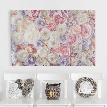 Stampa su tela - Pastel Paper Art roses - Orizzontale 3:2