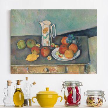 Stampa su tela - Paul Cézanne - Natura morta con Brocca da Latte e Frutti su un Tavolo - Orizzontale 4:3