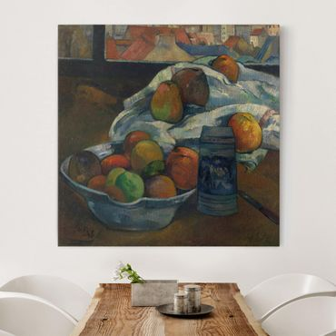 Stampa su tela - Paul Gauguin - Fruit Bowl and Pitcher in front of a Window - Quadrato 1:1