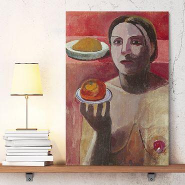 Stampa su tela Paula Modersohn-Becker - Donna italiana semi-nuda con Piatto - Verticale 2:3