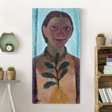 Stampa su tela - Paula Modersohn-Becker - Autoritratto con Collana ambrata - Verticale 3:4