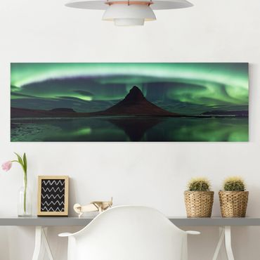 Stampa su tela - Aurora polare in Islanda - Panoramico