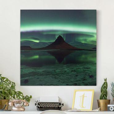 Stampa su tela - Aurora polare in Islanda - Quadrato 1:1