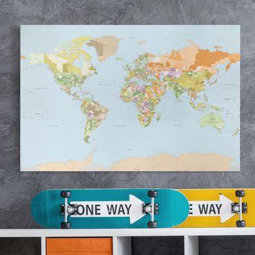Stampa su tela - Political World Map - Orizzontale 3:2