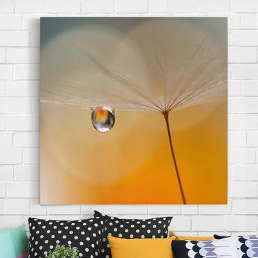 Stampa su tela - Dente di Leone in Arancione - Quadrato 1:1