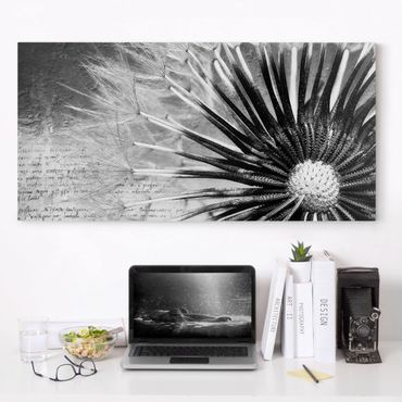 Stampa su tela - Dandelion Black & White - Orizzontale 2:1