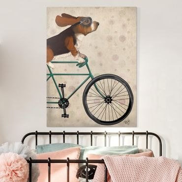 Stampa su tela - Ciclismo - Basset In Bicicletta - Verticale 3:4