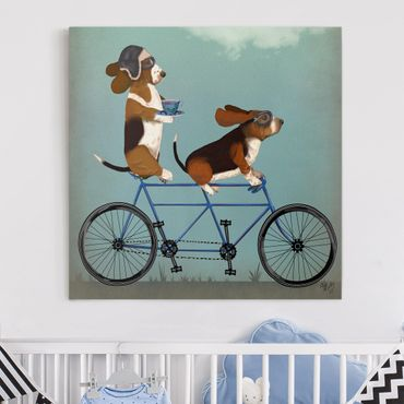 Stampa su tela - Ciclismo - Tandem Bassets - Quadrato 1:1