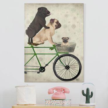 Stampa su tela - Tour in bicicletta - Cuccioli di cane in bicicletta - Verticale 3:4