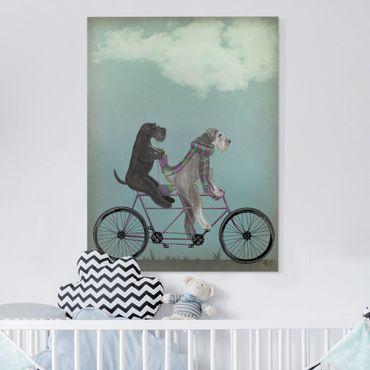 Stampa su tela - Ciclismo - Schnauzer Tandem - Verticale 3:4