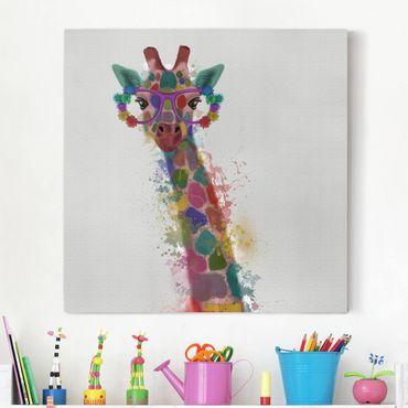 Stampa su tela - Arcobaleno Splash Giraffe - Quadrato 1:1