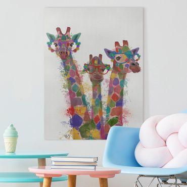 Stampa su tela - Arcobaleno Splash Giraffe Trio - Verticale 3:4