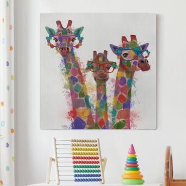 Stampa su tela - Arcobaleno Splash Giraffe Trio - Quadrato 1:1