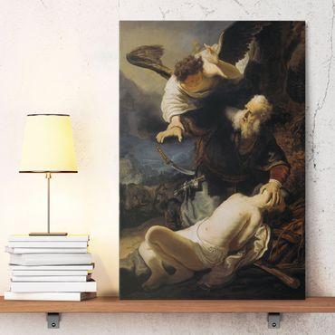 Stampa su tela Rembrandt van Rijn - L'angelo impedisce il sacrificio di Isacco - Verticale 2:3
