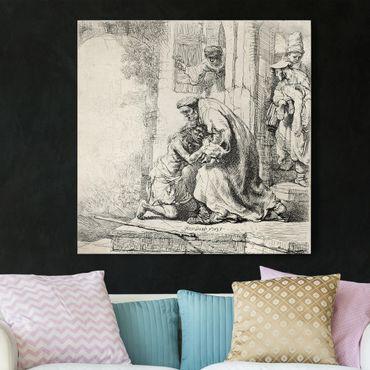Stampa su tela - Rembrandt van Rijn - The Return of the prodigal Son - Quadrato 1:1