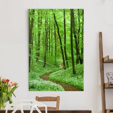 Stampa su tela Romantic Forest Track - Verticale 2:3