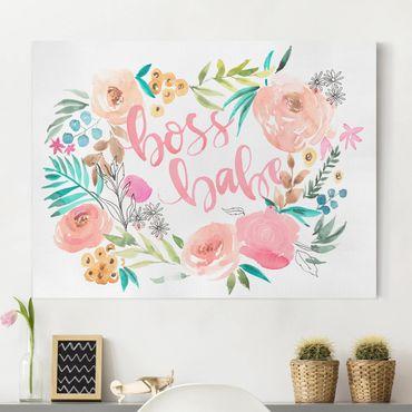 Stampa su tela - Pink Flowers - Boss Babe - Orizzontale 4:3