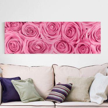 Stampa su tela - Pink Roses - Panoramico