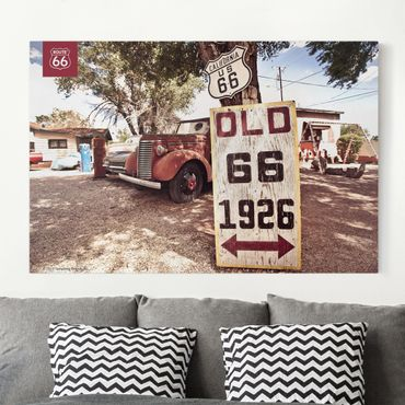 Stampa su tela - Route 66 - Old Pick-Up - Orizzontale 3:2
