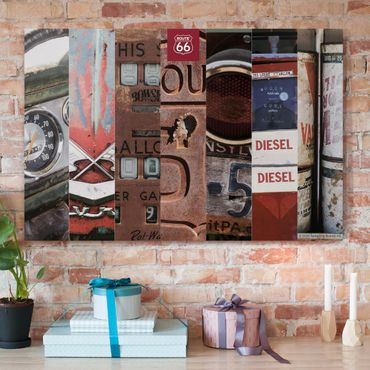 Stampa su tela - Route 66 - diesel collage - Orizzontale 3:2