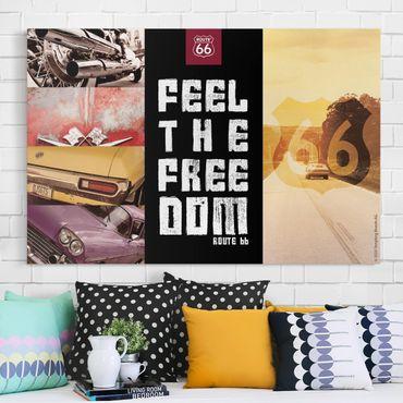 Stampa su tela - Route 66 - Collage sensazione di libertà - Orizzontale 3:2