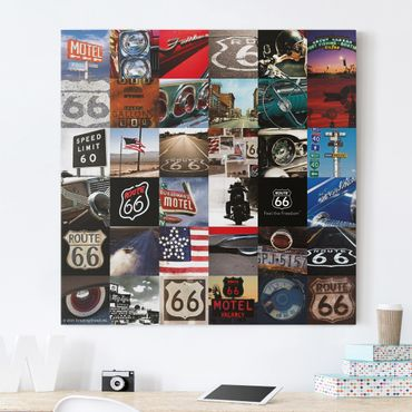 Stampa su tela - Route 66 - Collage Lifestyle - Quadrato 1:1