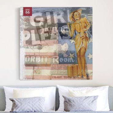 Stampa su tela - Route 66 - Pin-up Pleasure - Quadrato 1:1
