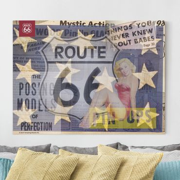 Stampa su tela - Route 66 - pin-up posa - Orizzontale 4:3