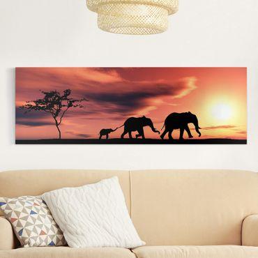 Stampa su tela - Savannah Elephant Family - Panoramico