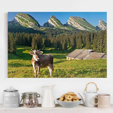 Stampa su tela - Swiss Alpine meadow with cow - Orizzontale 3:2