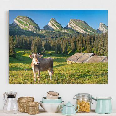 Stampa su tela - Swiss Alpine Meadow With Cow - Orizzontale 4:3
