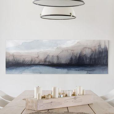 Stampa su tela - Lakeside Con Le Montagne I - Panoramico