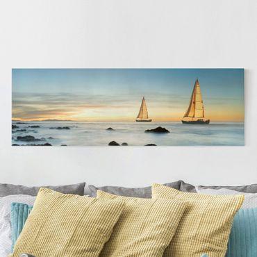 Stampa su tela - Sailboats In The Ocean - Panoramico