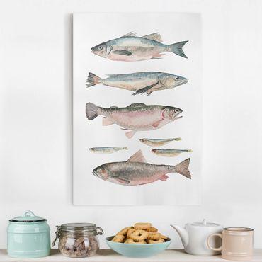 Stampa su tela - Sette Pesce in acquerello I - Verticale 2:3
