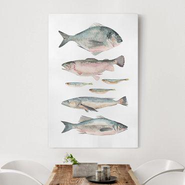 Stampa su tela - Sette pesce in acqua di colore II - Verticale 2:3
