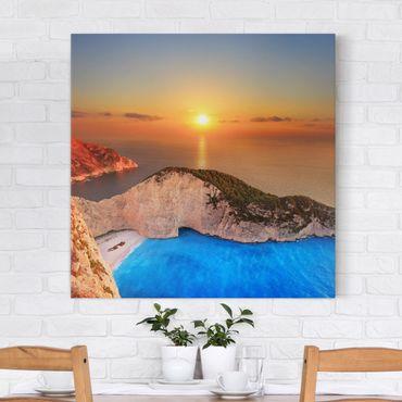 Stampa su tela - Sunset Over Zakynathos - Quadrato 1:1