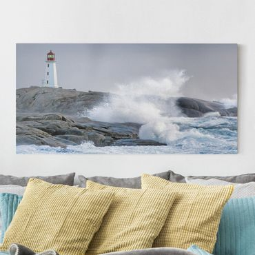 Stampa su tela - Storm Waves At The Lighthouse - Orizzontale 2:1