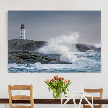 Stampa su tela - Storm Waves At The Lighthouse - Orizzontale 3:2