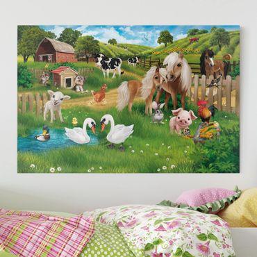 Stampa su tela per bambini - Animal Club International - Animali nella fattoria - Orizzontale 3:2