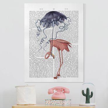 Stampa su tela - Lettura Degli Animali - Flamingo Con L'Ombrello - Verticale 3:4