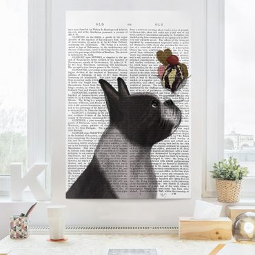 Stampa su tela - Reading Animal - Terrier Con Ghiaccio - Verticale 2:3