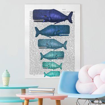 Stampa su tela - Lettura Degli Animali - Famiglia Balena - Verticale 3:4
