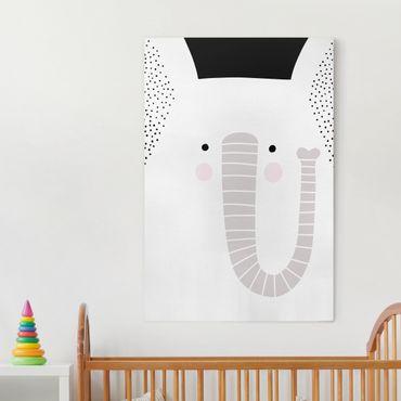 Stampa su tela - Zoo con i modelli - Elefante - Verticale 2:3