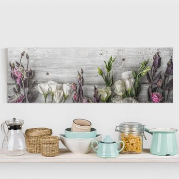 Stampa su tela - Tulip Rose Shabby Wood Look - Panoramico