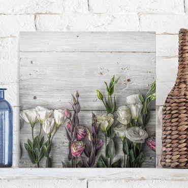 Stampa su tela - Tulip Rose Shabby Wood Look - Quadrato 1:1