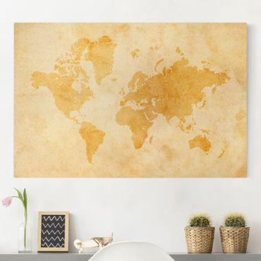 Stampa su tela - Vintage World Map - Orizzontale 3:2