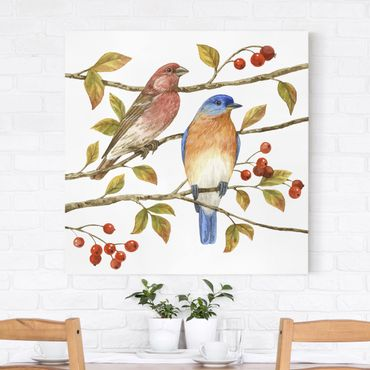 Stampa su tela - Birds And Berries - Bluebird - Quadrato 1:1