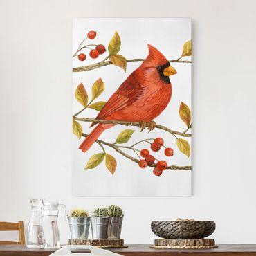 Stampa su tela - Uccelli e Bacche - Northern Cardinal - Verticale 2:3